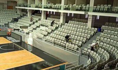 Akatlar Spor Salonu'nda corona temizliği